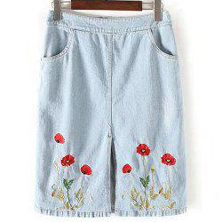 Fashionable A-Line Pocket Design Embroidered Women's Skirt -