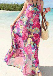 Bohemian Spaghetti Strap Floral Print Women's Long Dress -