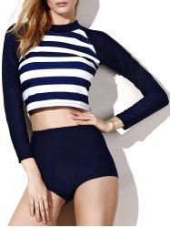 Long Sleeve Striped High Neck Underwire Rash Guard - PURPLISH BLUE M