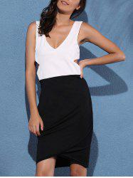 V Neck Cut Out Two Tone Dress -