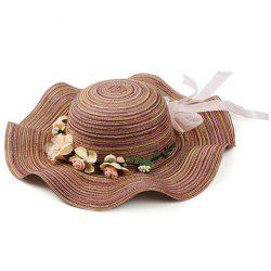 Chic Stripe Pattern Bowknot Flower Decorated Beach Straw Hat For Women -