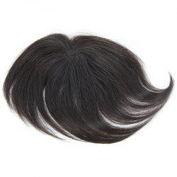 Brazilian Human Hair Trendy Clip-In Straight Natural Black Toupee -