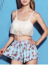 Chic Lace Spliced Bikini and Flower Shape Boxers Three-Piece Swimwear For Women -