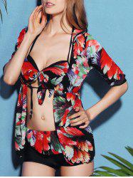 Chic Flower Print Bikini Flounced Three-Piece Swimwear For Women - BLACK L