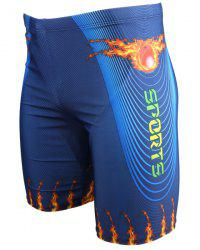Cool 3D Flame Print Striped Elastic Waist Boxer Swimming Trunks For Men -