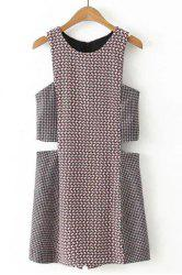 Chic Round Neck Sleeveless Cut Out Geometric Print Romper For Women -