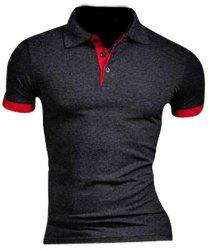 Slimming Turn Down Collar Splicing Design T-Shirt For Men -
