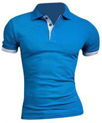 Slimming Turn Down Collar Splicing Design T-Shirt For Men