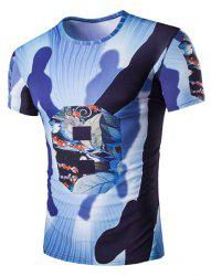 Slimming Round Neck Shadow Printed T-Shirt For Men -
