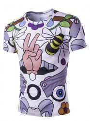 Slimming Round Neck Bee Printed T-Shirt For Men - COLORMIX