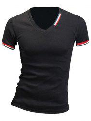 Slimming V-Neck Stripe Design T-Shirt For Men - BLACK