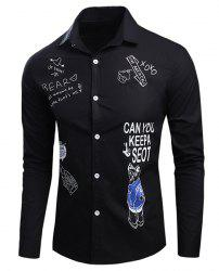 Casual Shirt Collar Funny Letters Cartoon Print Long Sleeves Slim Fit Shirt For Men