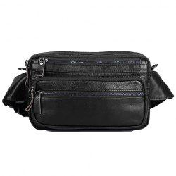 Leisure Zippers and PU Leather Design Messenger Bag For Men - BLACK