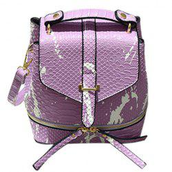 Fashionable Color Block and Embossing Design Backpack For Women