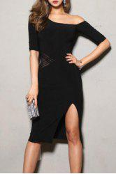 Novelty One-Shoulder Half Sleeves Criss-Cross Bodycon Dress For Women -