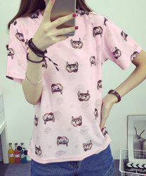 Trendy Round Neck Print Short Sleeves Ripped T-Shirt For Women -