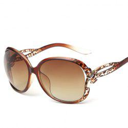 Chic Small Bow Embellished Leopard Pattern Ombre Sunglasses For Women - TEA-COLORED