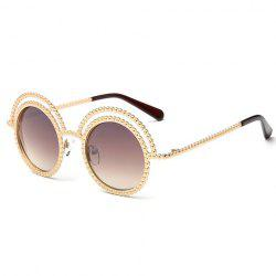 Chic Beaded Round Frame Hollow Out Golden Sunglasses For Women -