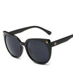 Chic Small Triangle Embellished Black Cat Eye Sunglasses For Women - BLACK