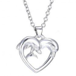 Heart Dolphin Shape Pendant Necklace - SILVER