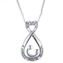 Letters Water Drop Heart Shape Pendant Necklace - SILVER