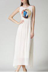 Ladylike Sleeveless Round Neck Chiffon Women's Maxi Dress - WHITE S