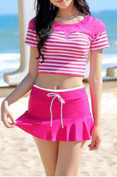 Refreshing Scoop Neck Sailor Striped Moulded Two Piece Swim Set For Women