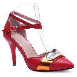 Trendy Colour Matching and Metal Design Pumps For Women - RED
