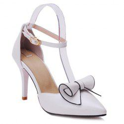 Ladylike Bow and Two Piece Design Pumps For Women - WHITE