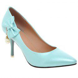 Elegant Bow and Faux Pearls Design Pumps For Women - AZURE 38
