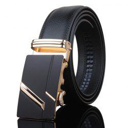 Stylish Golden Stripy Embellished Metal Automatic Buckle Black Wide Belt For Men - BLACK