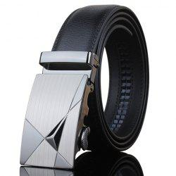 Stylish Triangle Shape Embellished Metal Buckle Black Wide Belt For Men