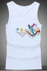 Loose Fit Round Collar Birds Printing Tank Top For Men - WHITE