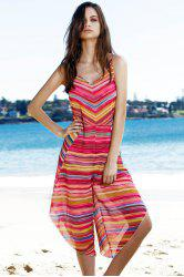 Sweet Spaghetti Strap Striped Colorful Women's Playsuit