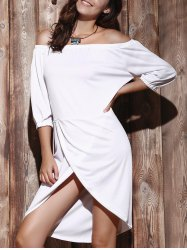 High Low Off The Shoulder Dress - WHITE XL