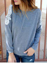 Chic Scoop Collar Long Sleeve Lace Spliced Cut Out Women's Sweatshirt - GRAY