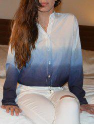 Stylish V-Neck Long Sleeve Gradient Color Blouse For Women - BLUE