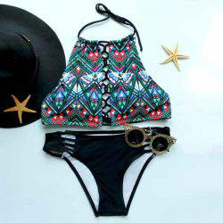 Women's Stylish Halter Printed Cut Out Bikini Suit -