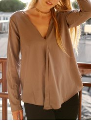 Chic V Neck Long Sleeve Pure Color Asymmetrical Women's Blouse - GRAY