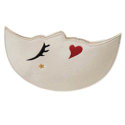 Cute Embroidery and Moon Shape Design Crossbody Bag For Women