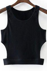 Fashion Round Collar Cut Out Black Cropped Tank Top For Women -