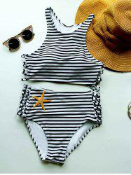 Striped High Waisted Bikini with Crop Top - WHITE AND BLACK S
