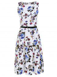 Trendy Round Collar Sleeveless Floral Print Slimming Women's Dress - WHITE L
