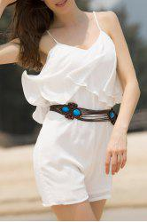 Solid Color Romper Fashion Spaghetti Strap flouncing femmes - Blanc