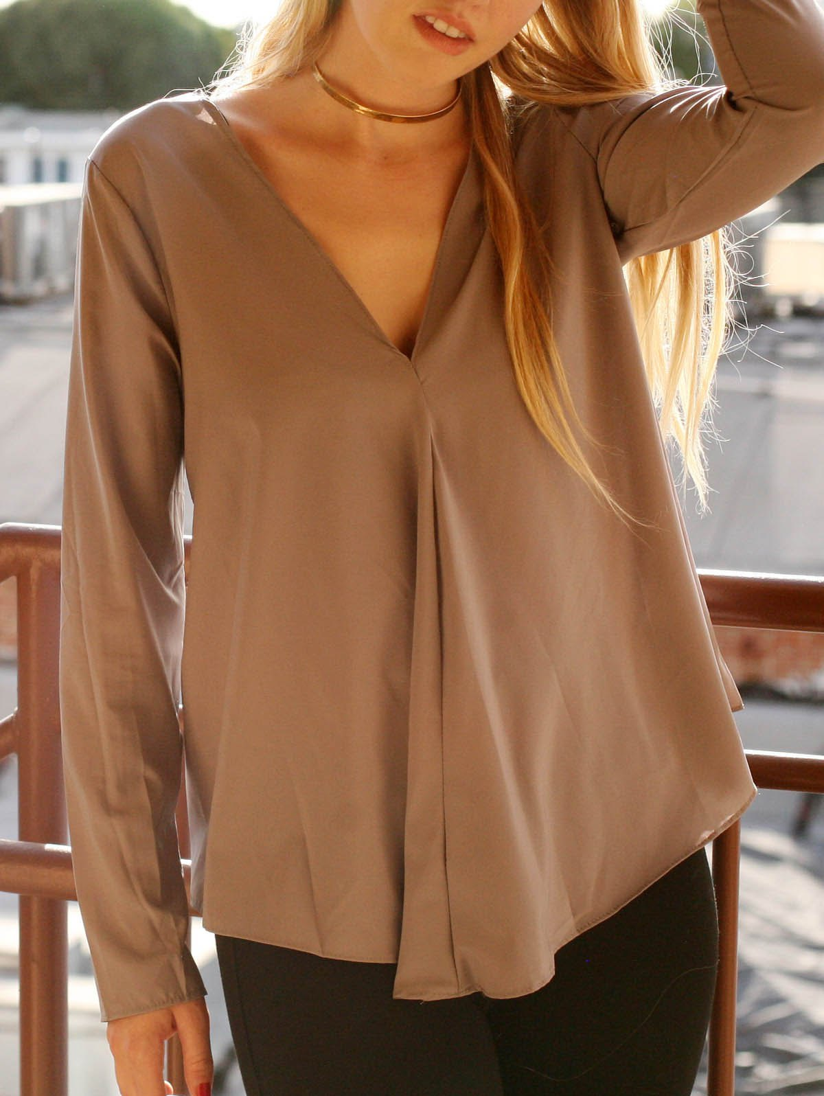 Trendy Chic V Neck Long Sleeve Pure Color Asymmetrical Women's Blouse