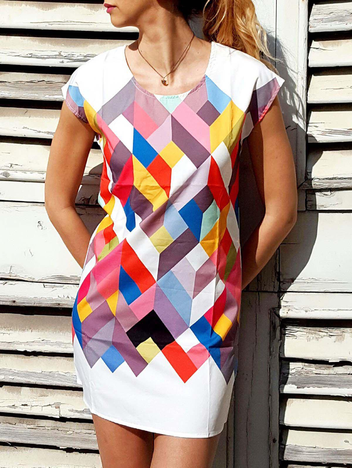 Fancy Chic Scoop Collar Short Sleeve Geometric Print Women's Dress
