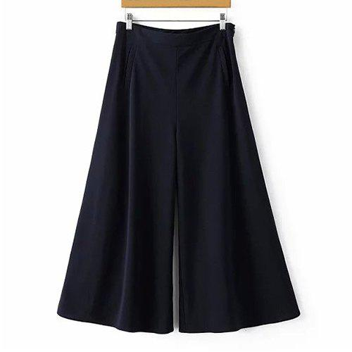 Store Elegant Solid Color High-Waisted Wide Leg Pants For Women