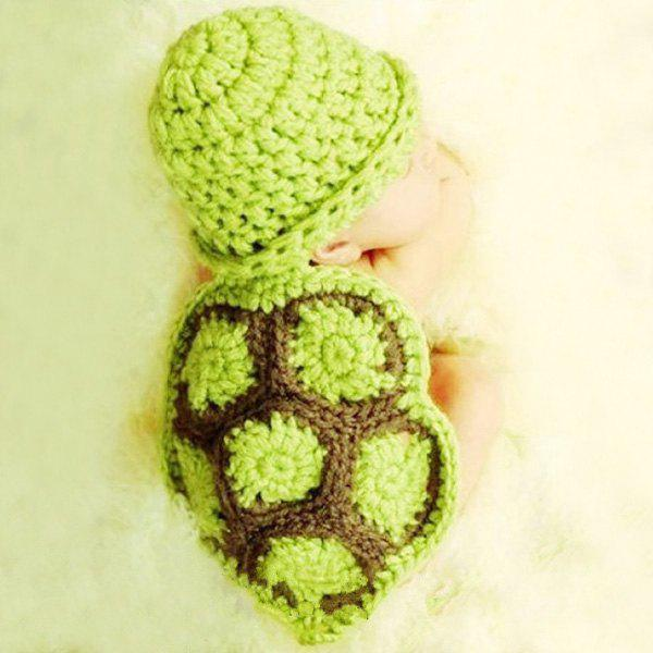 Fancy Fashion Tortoise Style Handmade Crochet Knitting Beanie Hat Clothes Set For Baby
