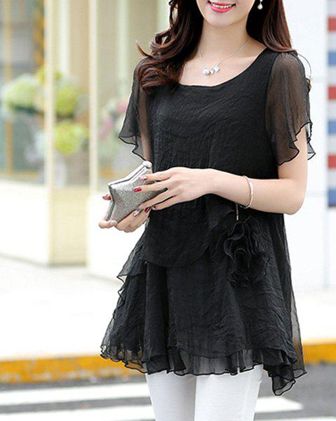 Slimming Scoop Neck Bell Sleeves Asymmetric Women's Blouse от Rosegal.com INT