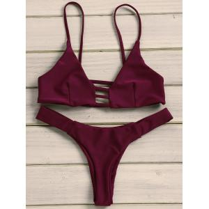 Strappy Tanga Bikini Set - Wine Red - S